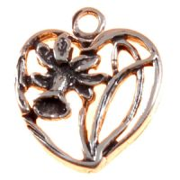 Daffodil Heart Sterling Silver Charms - Wales - Welsh Flower